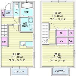 T-room A 1階2LDKの間取り