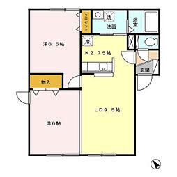 プレミールF館[1階]の間取り