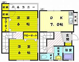 [テラスハウス] 福岡県古賀市薦野 の賃貸【福岡県 / 古賀市】の間取り