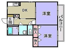 エスポワール A棟[A203号室]の間取り