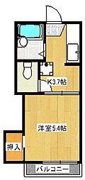ライトハウスウエスト[1階]の間取り