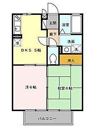 宮崎県宮崎市鶴島2丁目の賃貸アパートの間取り