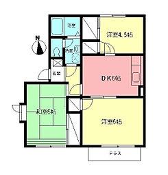 神奈川県伊勢原市沼目3丁目の賃貸アパートの間取り