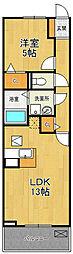 兵庫県伊丹市荒牧3丁目の賃貸アパートの間取り
