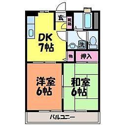 愛媛県松山市南江戸1丁目の賃貸アパートの間取り