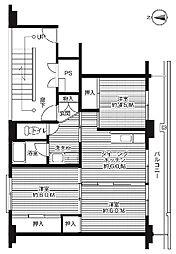 ビレッジハウス中央2号棟 4階3DKの間取り