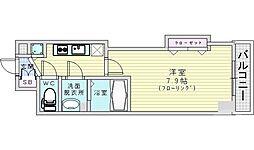 JR大阪環状線 桜ノ宮駅 徒歩11分の賃貸マンション 2階1Kの間取り