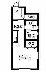 JR奥羽本線 北山形駅 西田5丁目下車 徒歩2分の賃貸アパート 1階ワンルームの間取り