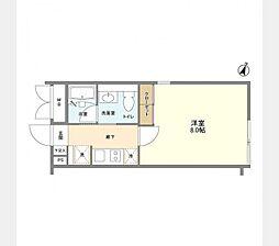 レヴァンテ笹塚 2階ワンルームの間取り