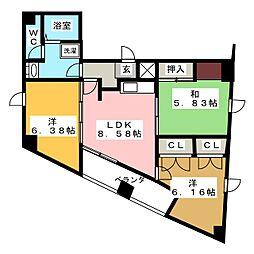 塚本丸武ビル 3階3LDKの間取り