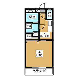 下東野コーポII 2階1Kの間取り