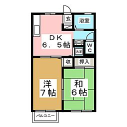 宮城県仙台市泉区みずほ台の賃貸アパートの間取り