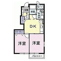 東京都八王子市西片倉2丁目の賃貸アパートの間取り