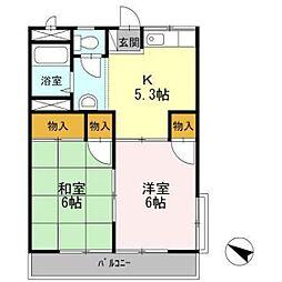 JR山陽本線 五日市駅 徒歩13分の賃貸アパート 2階2Kの間取り