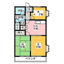 ダイアナポリス鳥居II[2階]の間取り