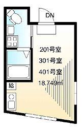 Lapis椎名町 2階ワンルームの間取り