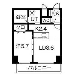 新築レゾ札幌 6階1LDKの間取り