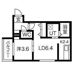 エフォート新道東 1階1LDKの間取り
