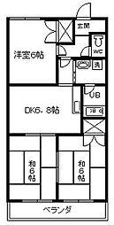 愛知県安城市横山町八左の賃貸マンションの間取り