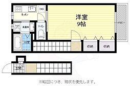 京王線 千歳烏山駅 徒歩5分の賃貸アパート 2階1Kの間取り