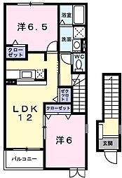 茨城県日立市田尻町4丁目の賃貸アパートの間取り