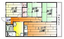 大阪府茨木市蔵垣内3丁目の賃貸マンションの間取り