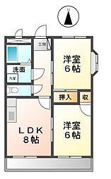 愛知県清須市上条1の賃貸マンションの間取り