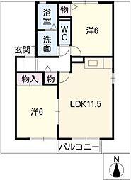 メ−プル・クロス・エガムロII[1階]の間取り