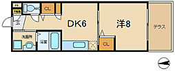 大阪府東大阪市島之内2の賃貸マンションの間取り