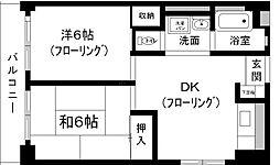 第1コーポ舞鶴ビル[6階]の間取り