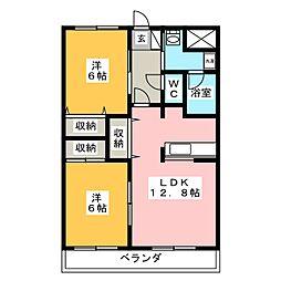 サニーウィング大野壱番館[2階]の間取り