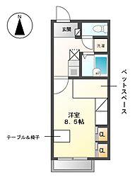 愛知県愛知郡東郷町清水4の賃貸アパートの間取り