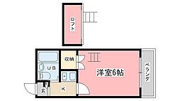 シネマ御陵[201号室]の間取り
