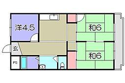 八日市ウイング[3階]の間取り