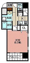 アースコートY`sシティ片野新町 13階1Kの間取り