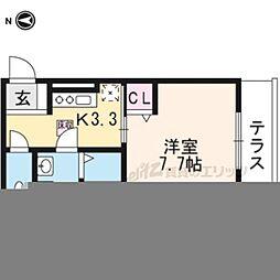 近鉄京都線 三山木駅 徒歩5分の賃貸アパート 2階1Kの間取り