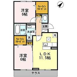YAMAZAKIコーポラス[205号室]の間取り