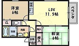 豊友スカイハウス 1階2LDKの間取り