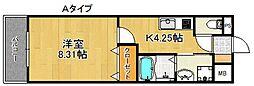ベル・グリーン 1階1Kの間取り