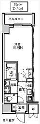 都営大江戸線 両国駅 徒歩6分の賃貸マンション 4階1Kの間取り