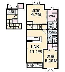 グリーンハウス A棟[2階]の間取り