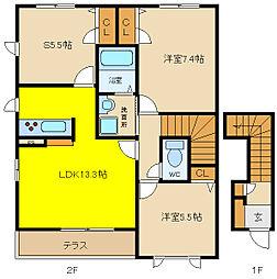 ヌーベル上之島 B棟[2階]の間取り