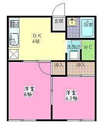 茨城県古河市静町の賃貸アパートの間取り