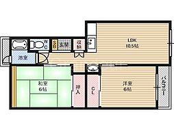 関目コーポB棟[3階]の間取り