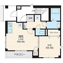 東京メトロ南北線 白金台駅 徒歩12分の賃貸マンション 1階1LDKの間取り