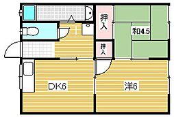 大阪府吹田市穂波町の賃貸アパートの間取り