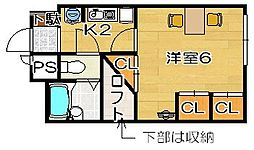 大阪府高槻市古曽部町3丁目の賃貸アパートの間取り