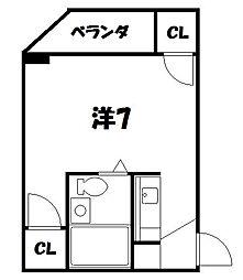 京都府京都市山科区竹鼻扇町の賃貸マンションの間取り