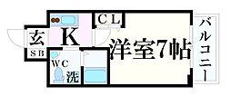 神戸市海岸線 みなと元町駅 徒歩2分の賃貸マンション 15階1Kの間取り