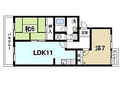 タラ生駒[3階]の間取り